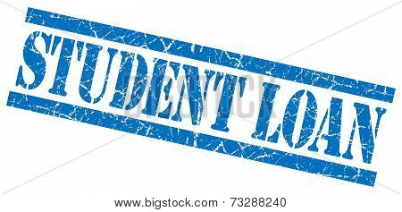 Student Loan Blue Square Grunge Textured Isolated Stamp