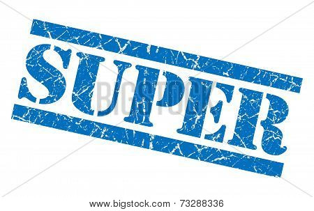 Super Blue Square Grunge Textured Isolated Stamp