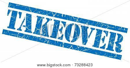 Takeover Blue Square Grunge Textured Isolated Stamp