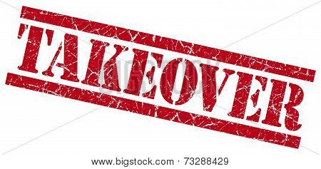 Takeover Red Square Grunge Textured Isolated Stamp