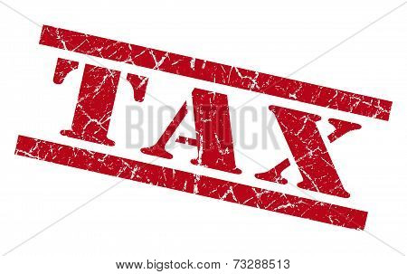 Tax Red Square Grunge Textured Isolated Stamp