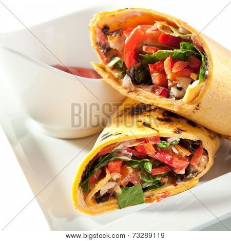 Vegetables Burrito with Spicy Sauce