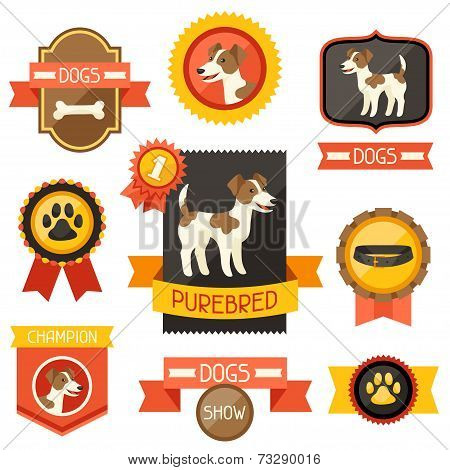Badges, labels, ribbons with cute dogs, icons and objects.
