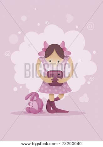 Girl in pink dress playing with mobile smartphone in hands. Eps10 vector illustration