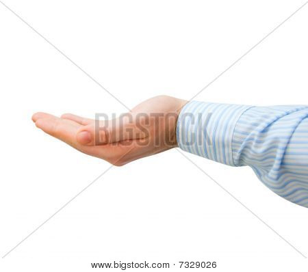 Giving man's hand on a white background