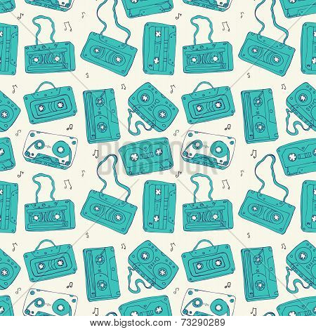 Audio cassette. Seamless pattern.