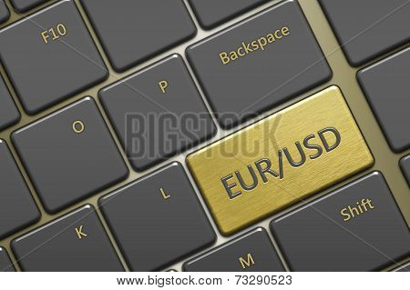 Computer Keyboard With Currency Pair:eur/usd Button