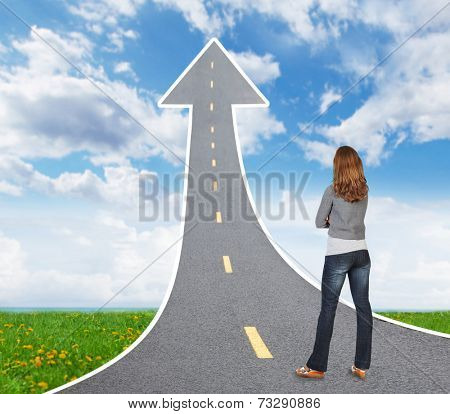 Woman looking a way. Taking important decision concept