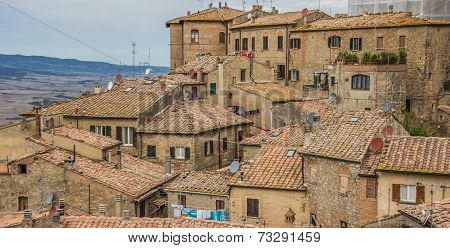 Old Houses On The Hill Top Of Volterra