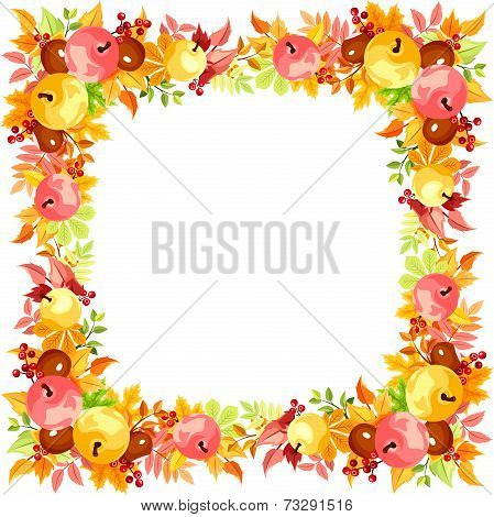 Vector frame with colorful autumn leaves.