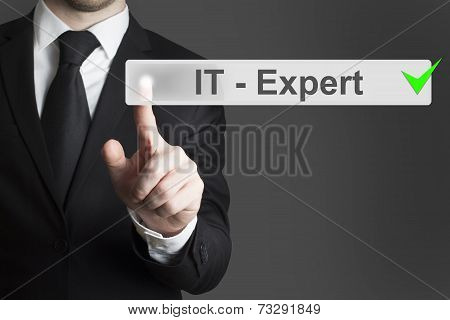 Businessman Pushing Button It Expert