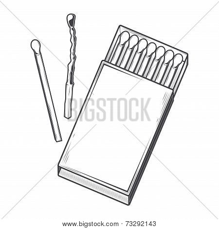 Top View Matchbox Isolated On A White Background. Monochromatic Line Art. Retro Design. Vector Illus
