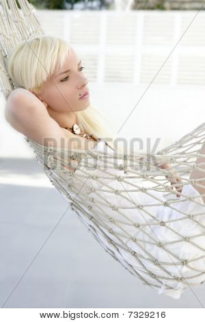 Beautiful Blonde Young Girl Relaxed On Hammock Profile