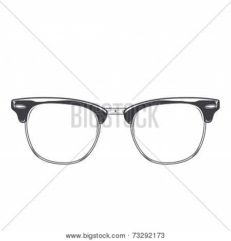 Classic Glasses Clubmaster Isolated On A White Background. Monochromatic Line Art. Retro Design.