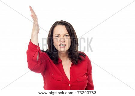 Upset Woman Isolated Over A White