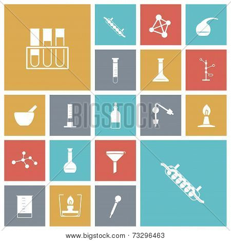 Flat Design Icons For Chemistry Lab