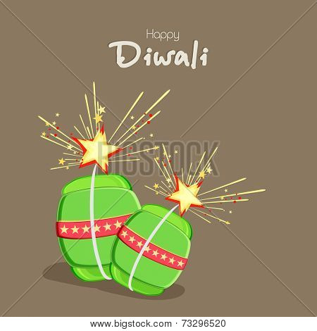 Illustration of exploding crackers with stylish text of Diwali for Diwali celebration.