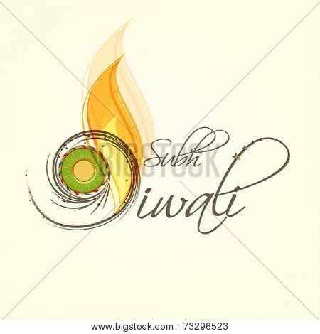 Stylish text of Subh Diwali with crackers and flame for Diwali celebration on shiny beige background.