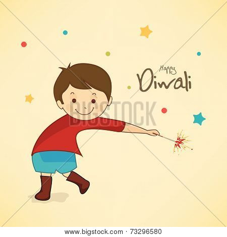 Little cute boy holding a firecrackers and stylish text of Diwali for Diwali celebration on stars decorated pale yellow background.