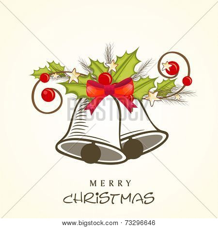 Jingle bells and holy berries tied by red ribbon, beautiful greeting card design for Merry Christmas celebrations.
