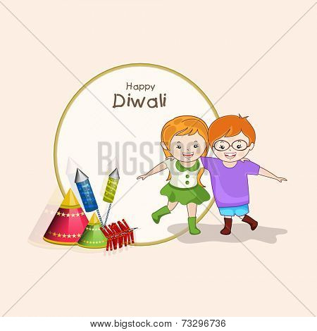 Little cute kids holding to each other and crackers with stylish text of Diwali on rounded frame for Diwali celebration.