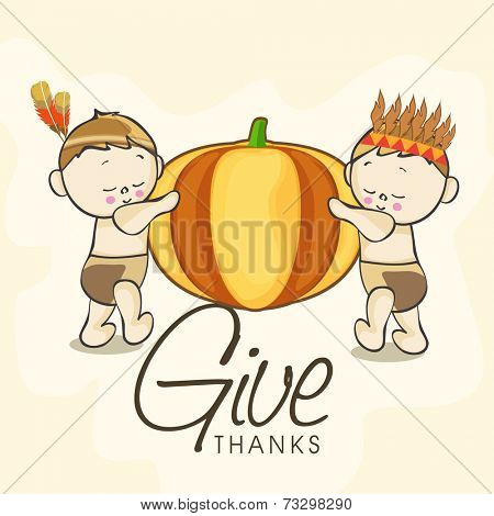Cute little American and Indian kids holding big pumpkin on grungy beige background for Happy Thanksgiving Day celebrations.
