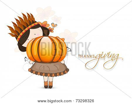 Cute little tribe girl holding pumpkin on seamless maple leaves background for Happy Thanksgiving Day celebrations.