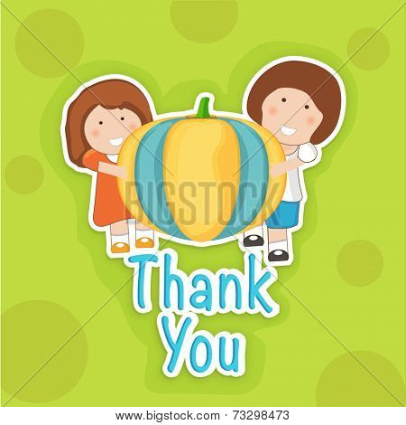 Cute little girls holding big colorful pumpkin and saying Thank You on abstract green background. Thanksgiving Day celebration concept.