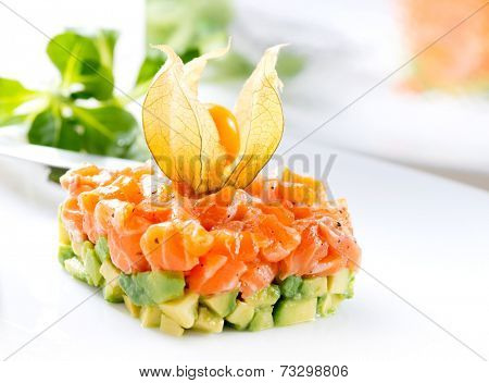 Salmon Tartar over White Background. Gourmet Food. Starter closeup