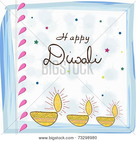 Illuminated oil lit lamps with decoration and stylish text of Diwali for Diwali celebration on stars decorated stylish background.