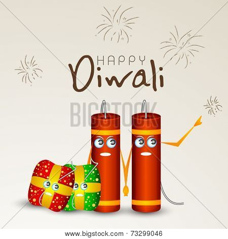 Diwali celebration with crackers holding to each other and stylish text of Happy Diwali.