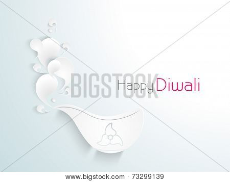 Celebration of Diwali with floral decorated illuminated lit lamp and stylish text of Happy Diwali.