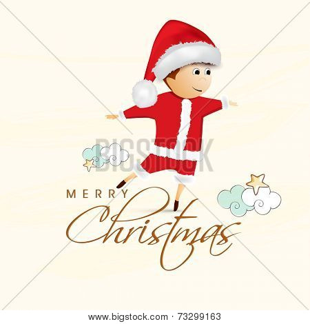 Cute little santa boy playing on occasion of Merry Christmas festival.
