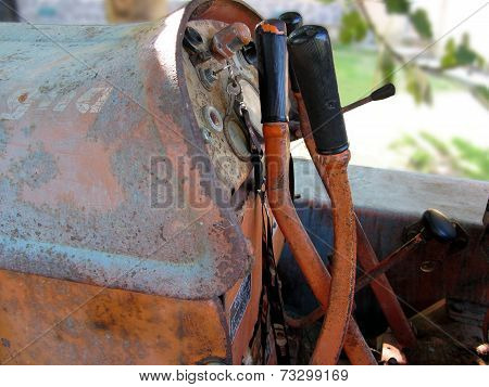 Dashboard Of Old Italian Crawler Tractor