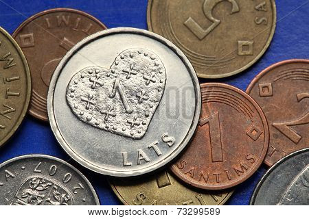 Coins of Latvia. A heart depicted in old Latvian one lats coin.