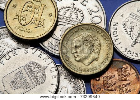 Coins of Sweden. King Carl XVI Gustaf of Sweden depicted in Swedish krona coins.