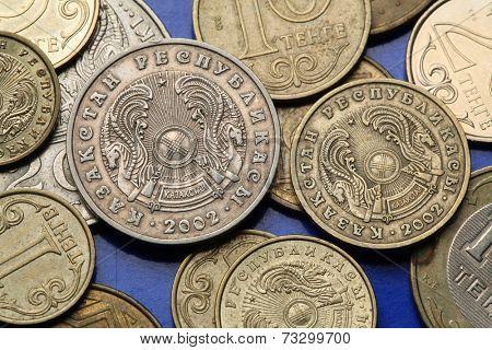 Coins of Kazakhstan. State emblem of Kazakhstan depicted in the Kazakhstani tenge coins.