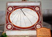 stock photo of sundial  - Close up of Sundial clock on street market - JPG