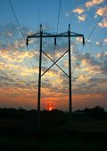 foto of transmission lines  - Power Transmission Line tower on sunset time