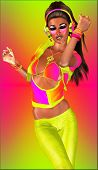 pic of ignite  - A sexy girl dances with headphones against a colorful abstract background - JPG