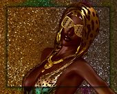 picture of halter-top  - African beauty against a gold glitter background - JPG