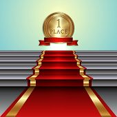 stock photo of medal  - Vector abstract illustration of red carpet on staircase and gold medal with ribbon on light background - JPG