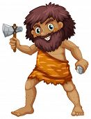 stock photo of caveman  - Illustration of a single caveman with weapons - JPG
