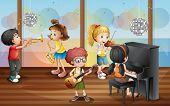 image of wind instrument  - Illustration of children playing music instrument - JPG