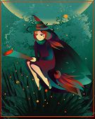 picture of fireflies  - Cartoon illustration with witch on a broomstick and pumpkin for  Halloween - JPG