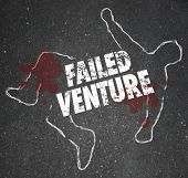 image of kill  - Failed Venture words on a chalk outline as a dead or killed unsuccessful startup business venture - JPG