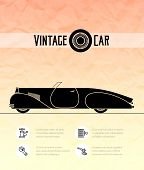 Постер, плакат: Retro cabriolet sport car vintage outline style