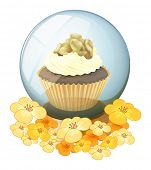 foto of cake-ball  - Illustration of a crystal ball with a cake on a white background - JPG