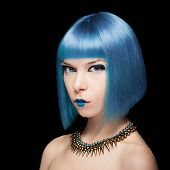 foto of manga  - Anime model with blue hair isolated on black background - JPG