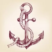 pic of anchor  - anchor  hand drawn vector llustration realistic sketch - JPG